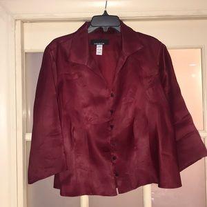 Jones New York SILK Burgundy Collar Blouse Top 18